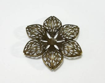 Antique Brass, Bronze, Filigree, Steampunk, Flower, Pendant, Curved, Stamping, Blank, Jewelry, Beading, Supply, Supplies