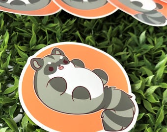 Kawaii Raccoon Nugget Sticker ( cute chibi stickers )