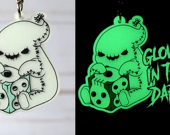 Kawaii Oogie Boogie Nightmare Before Christmas Glow in the Dark Charm Keychain