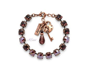LOUNGING IN VELVET 8mm Charm Bracelet Made With Swarovski Crystal *Choose Finish & Size *Karnas Design Studio™ *Free Shipping*