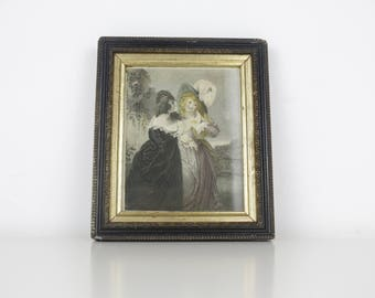 1830's Hand Coloured Engraving 'Merry Wives of Windsor' Framed