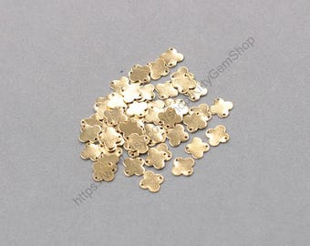 20Pcs 7mm Raw Brass Flower Charms Connectors ZR-7457