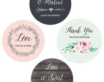 Personalized Stickers - Wedding Favor Tags for Favors Custom Labels Wedding - Wedding Favor Label Stickers (EB4007GDN) set of 24  stickers
