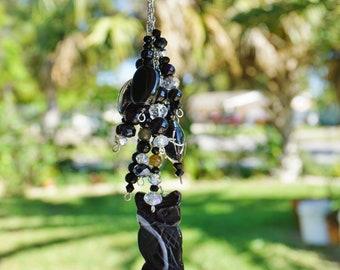 Black Obsidian Owl,  Crystal and Glass,  Rear View Mirror Charm,  Black Car Mirror Charm,  Natural Car Charm