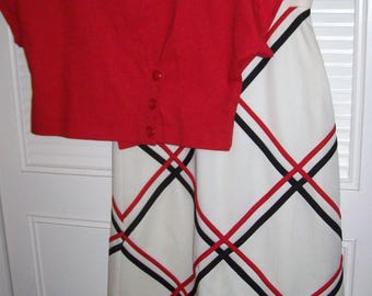 Dress 8, Skirt and Top by Dalton STUNNING !  Red, White, and Blue MAXI Two Piece July 4th Find !