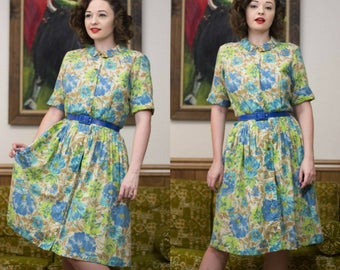 50s Tropical Dress | 50s Shirt Dress | 50s Floral Dress | 50s Dress | 50s Day Dress | 50s Sundress | 1950s Dress | 50s Cotton Dress | 28""