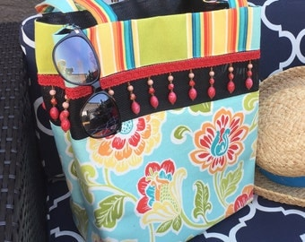 Red Orange Lime Teal Floral on Aqua with Coordinating Stripe Tote Bag / Red Beading / Beach Bag