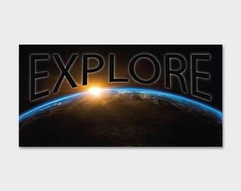 "Space NASA Explore Sunrise Earth Bumper Sticker Decal 5""x2.5"""