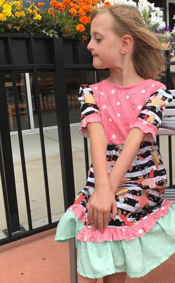 Girls dress,girls fall dress,girls flowered dress,toddler dress,peach and green dress,striped dress,girls fancy dress,girls long dress