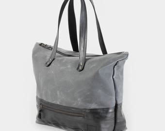 Zippered Carryall Tote made from waxed canvas and recycled bike inner tubes