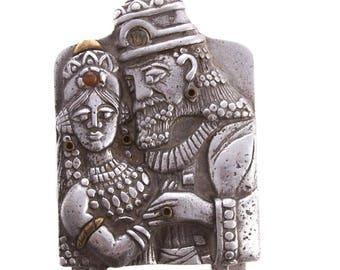 Frank Meisler King Solomon & Bathsheba Jewelry Box Judica Signed Israeli Artist