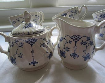 Vintage Myott Finlandia Six Cups With Sugar And Creamer/ English Cups/ Blue And White/ Sugar And Creamer/ English China/ Fine Staffordshire