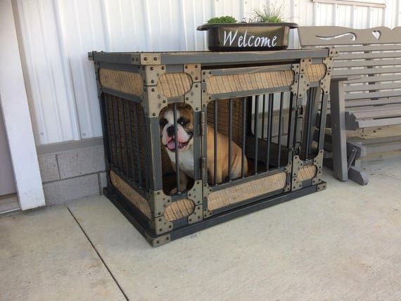 Rustic Industrial Dog Kennel Dog Crate Riveted Steel Dog