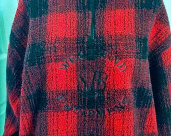 Hipster Lumberjack Check Sherpa Fleece 1/2 Zip Top - Small Red Winter Fall Sport Casual Jacket - Vintage 90s  Alpine Ski Chalet Sweater