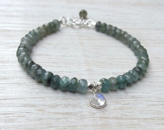 Aquamarine bracelet March birthstone Gemstone bracelet Aquamarine jewelry Birthstone jewelry Moss Aquamarine Bracelet Birthstone Bracelet