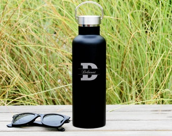 Cursive Name on Modern Initial Engraved Water Bottle   Double-Insulated Water Bottle   Elemental Bottles
