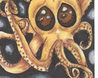 Octopus Skull Drawing Framed (Print)