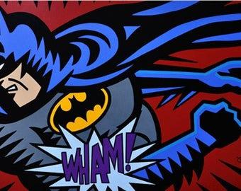 Burton Morris Batman-Wham! Oil painting Reproduction on linen canvas 36x60 inches