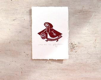 Little Red print - handprinted linocut (11.5 cm x 8 cm)