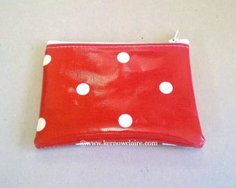 Coin purse in red with white spots, ladies change purse, oilcloth card wallet, spotty pocket purse, zipped pouch, red card holder