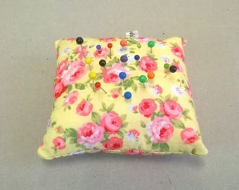 Pin cushion, yellow pin cushion, floral pin cushion, small pin cushion, pretty pin holder, sewing accessory, pink flowers pin cushion