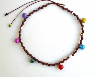Colorful bell anklet,Brown macrame anklet,Beach Anklet,Ringing bells,Summer Anklet,Hippie Anklet,Ethnic,Boho,Beaded anklet,Indian Anklet