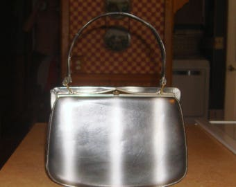 Vintage Nicholas Reich Silver Gray Leather Handbag with Mirror