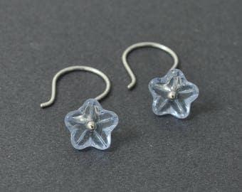 Flower earrings, Blue Earrings, Dangle Earrings, Czech glass earrings
