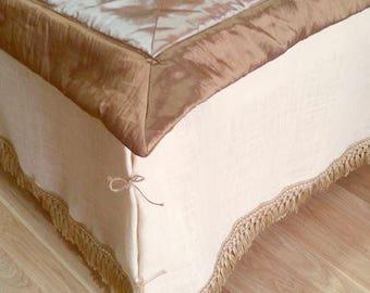 Ivory Dust Ruffle - Bed Skirt with Rustic Fringe - Ivory Burlap Bedskirt - Burlap Bedding - Farmhouse Bedskirt - Burlap Valance - Queen Size