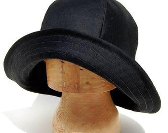 Womens black fedora hat Handmade French hat Black designer hat French rain hat  ZUTelle fashion rain hat in black French cotton gaberdine