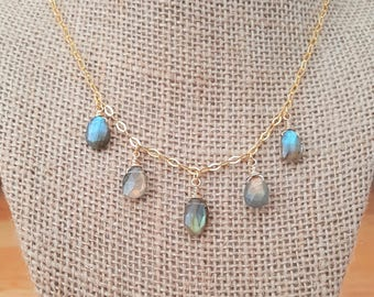 Faceted Labradorite Drop Necklace 18K Gold Plated over 925 Sterling Silver / Gold Vermeil / Labradorite Dangle Necklace / Wire Wrapped Stone