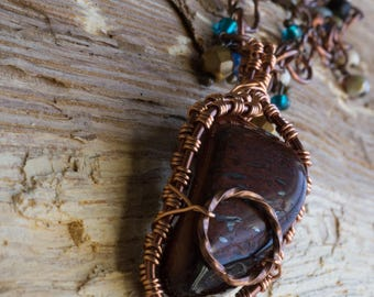 "Copper wire wrapped TigersEye pendant with beaded chain 28"" with 2"" pendant"