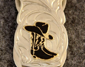 Money Clip - IN STOCK Hand Engraved Money Clip with a Cowboy Hat Resting On a Pair of Boots  Makes a Great Gift for Men or Women