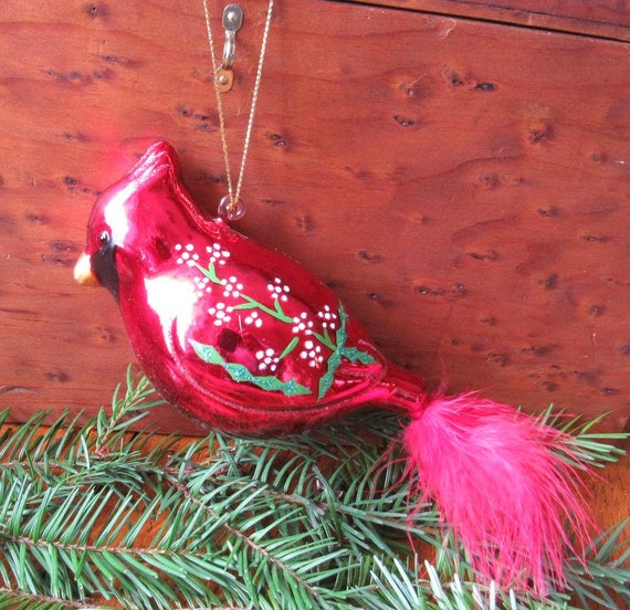 Red Cardinal Glass Holiday Tree Ornament