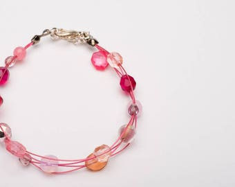 Valentine Multi Strand Glass Bead Bracelet