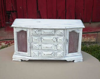 Vintage Upcycled Wood Jewelry Box Shabby Cottage Chic Distressed White ,Nice,Large