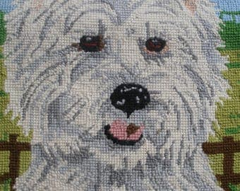 Vintage completed needlepoint embroidery, Westie dog, for cushion