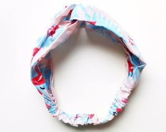 Phyllis Fabric Headband - Turban headband - Pink Flamingos - Boho headband - Womans headband - Adult headband - Pink fabric headband