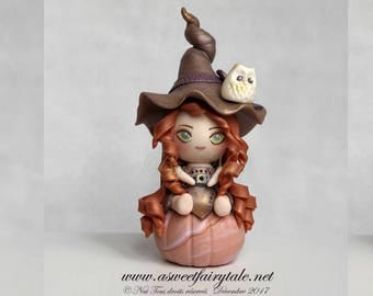 Little witch manga style polymer clay