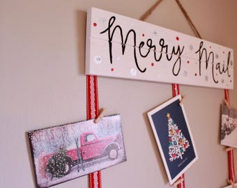 Merry Mail Wood Sign