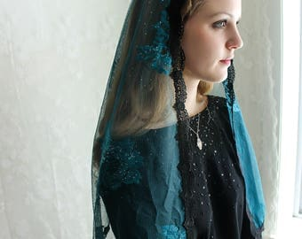 Evintage Veils~Our Lady, Mystical Rose  Lace Mantilla Chapel Veil  Mantilla Shawl Wrap
