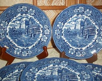 Vintage Coaching Taverns Blue & White Salad Plates Set of 5 Royal Tudor Ware Staffordshire England Collectible or Replacement Plates