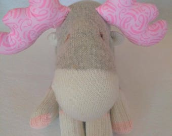 Sock Moose - Soft Toy - Stuffed Moose - Work Sock - Girl Toy - Nursery Decor - Handmade - One of a Kind - Toddler Toy - Baby Toy