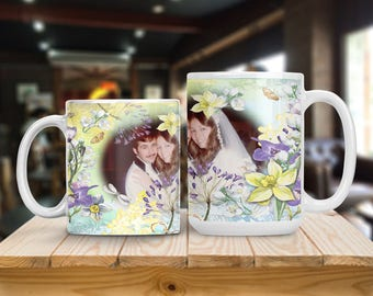 Personalized Photo Mug, Garden Art and Flowers Photo Cup, Photo Picture Mug, Gift for Mother Grandmother Sister or Best Friend, Thank You