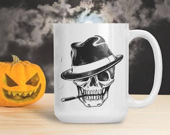 Skull Smoking with Fedora Hat, Roaring 20s Skeleton Mug, Halloween Skeleton Decoration, Halloween Gothic Table Decor, Skeleton Bones Mug Cup