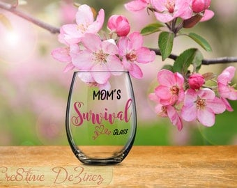 Unique Gift for Mom, Mom's Survival Glass, Funny Mother Gift, Anniversary Present, Birthday Present, Gift for Mommy, Parent Survival Glass