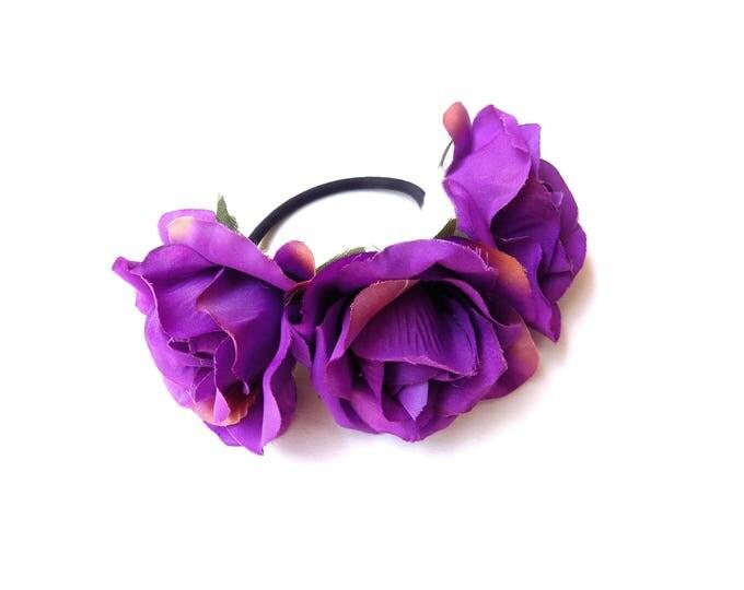Dark purple rose bun wrap, floral bun crown on elastic band, hippie floral hair accessory