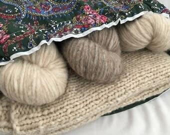 Knitting Project Bag Large Drawstring Cotton Bag Green Paisley Bag No Snag Drawstring Bag for Knitting Projects Crochet Project Bag