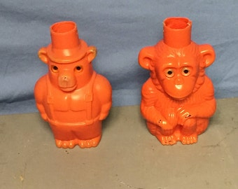Vintage Outdoor Blow Mold Monkey and Bear Party Light Covers, 1960's