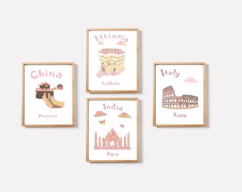 9, Nursery wall art,baby room decor,baby art print,full colors,China,Ethiopia,Italy,India,tableau chambre enfant